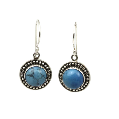 Handmade 925 Sterling Silver Angelite Gemstone Circle Drop Earrings