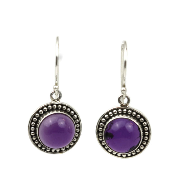 Handmade 925 Sterling Silver Amethyst Gemstone Circle Drop Earrings
