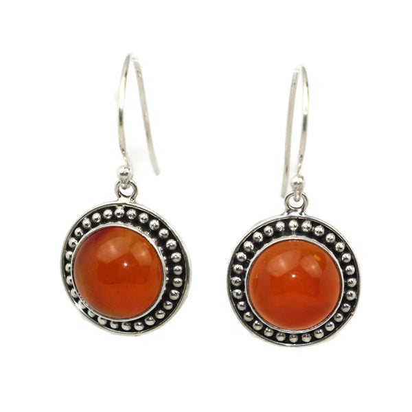 Handmade 925 Sterling Silver Carnelian Gemstone Circle Drop Earrings