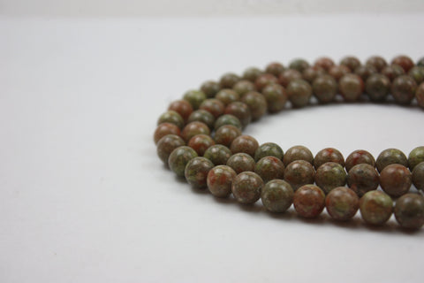 "Unakite Smooth Round Gemstone Bead 8mm 7.5"" Half Strand  (24 Beads)"