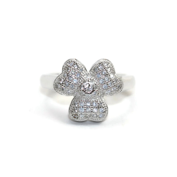 Rhodium Plated Sterling Silver Cubic Zirconia CZ 3 Leaf Clover Ring