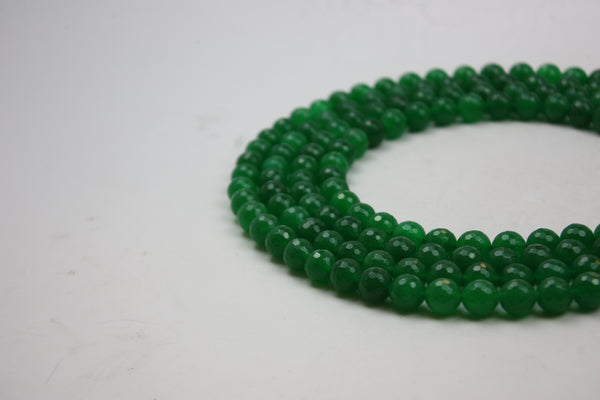 "Green Jade Faceted Round Gemstone Beads 10 mm 15.5"" Strand (40 Beads)"