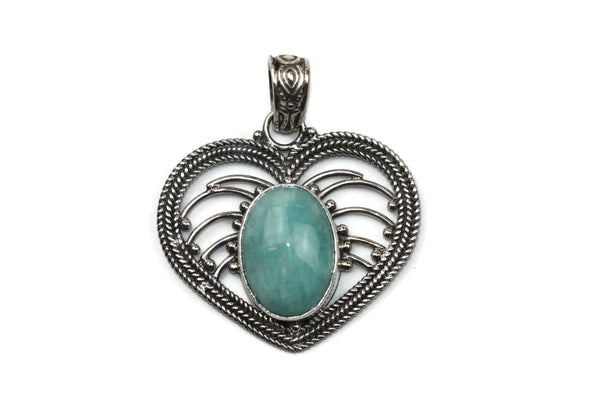Handmade 925 Sterling Silver Amazonite Gemstone In Antique Heart Pendant