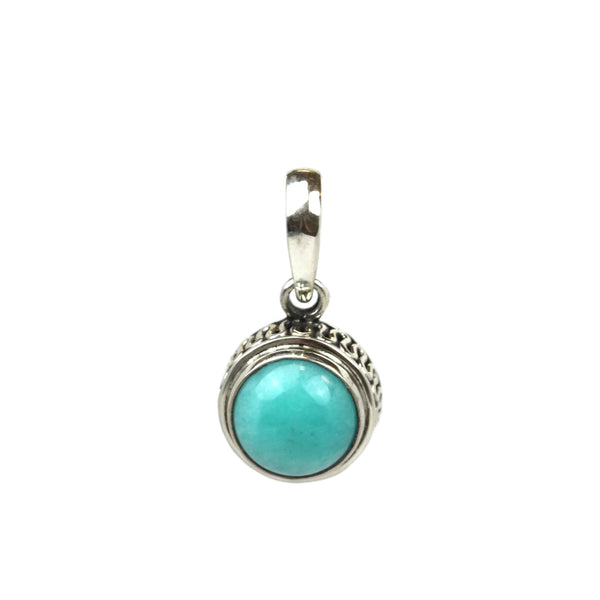 Handmade 925 Sterling Silver Amazonite Gemstone In Round Pendant