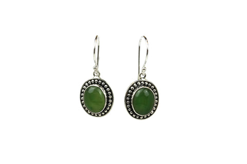 Handmade 925 Sterling Silver Aventurine Gemstone Oval Dangle Earrings xxx