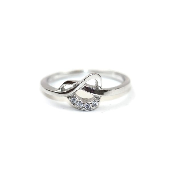 Rhodium Plated 925 Sterling Silver Cubic Zirconia CZ Ribbon Ring