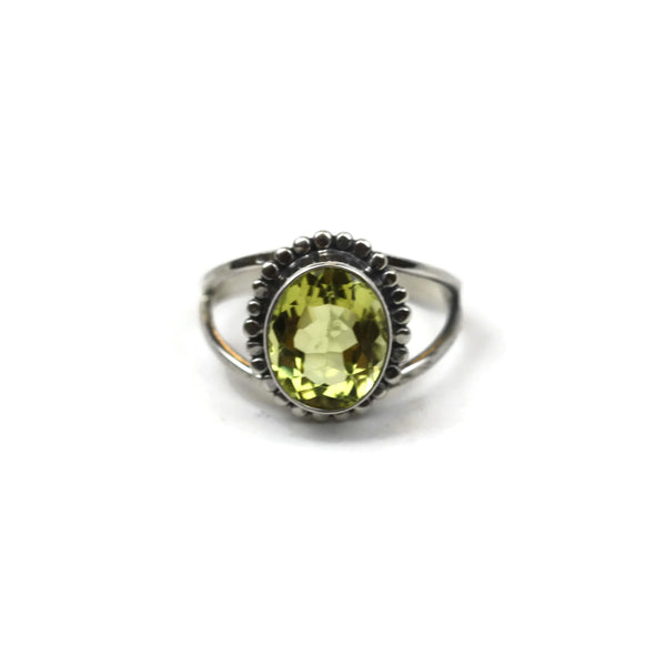 Handmade Sterling Silver Oval Faceted Lemon Stone Gemstone Flower Ring