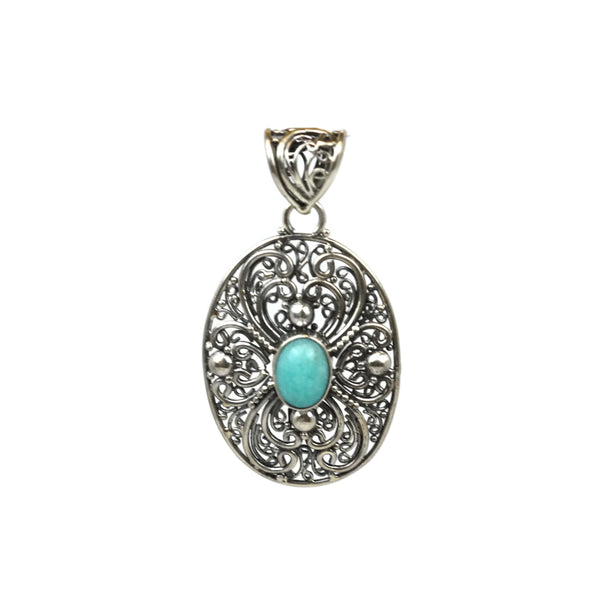 Handmade 925 Sterling Silver Antique Decorative Pendant With Oval Smooth Amazonite Gemstone