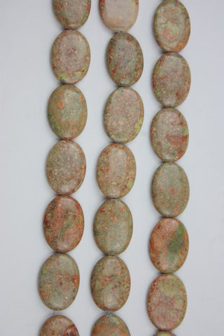 Autumn Jasper Oval Gemstone Beads 25x35mm