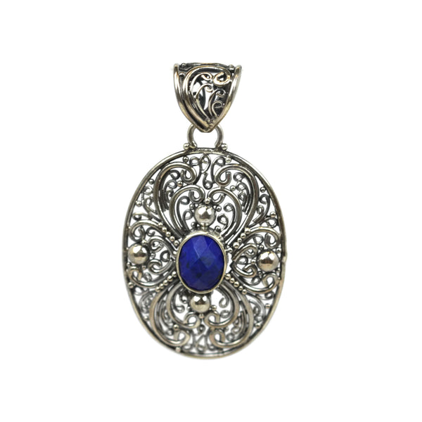 Handmade 925 Sterling Silver Antique Decorative Pendant With Oval Faceted Lapis Lazuli Gemstone
