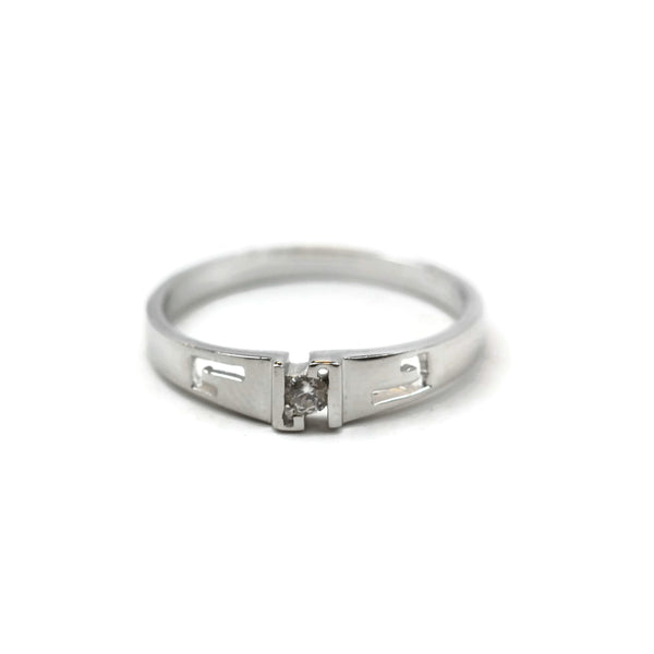 "Rhodium Plated 925 Sterling Silver Cubic Zirconia Ring ""L"" Shape Ring"