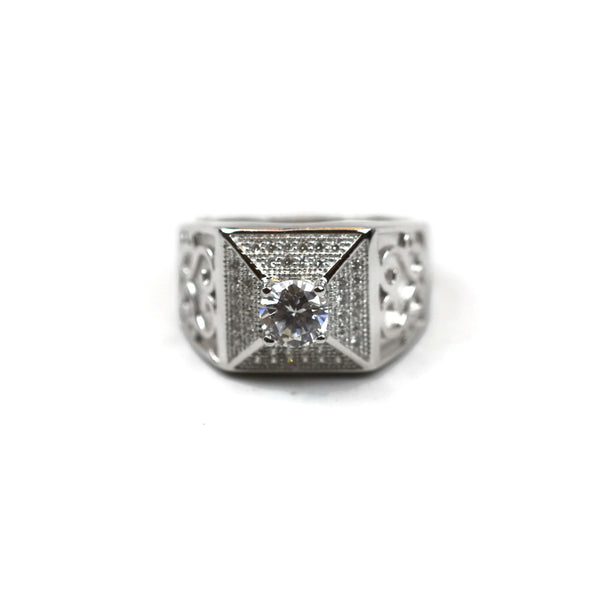 Rhodium Plated Sterling Silver Cubic Zirconia CZ Square Ring