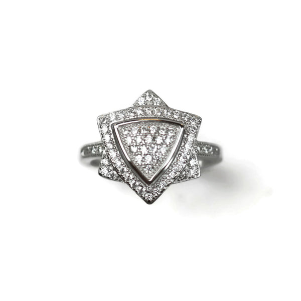 Rhodium Plated .925 Sterling Silver Cubic Zirconia CZ Star Ring