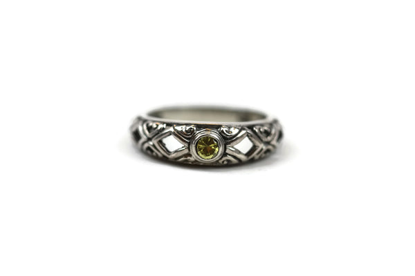 Handmade Sterling Silver Faceted Yellow Cubic Zirconia CZ Ring