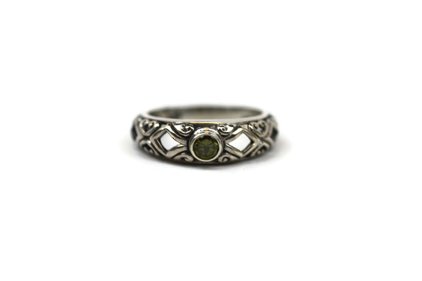 Handmade Sterling Silver Faceted Light Green Cubic Zirconia CZ Ring