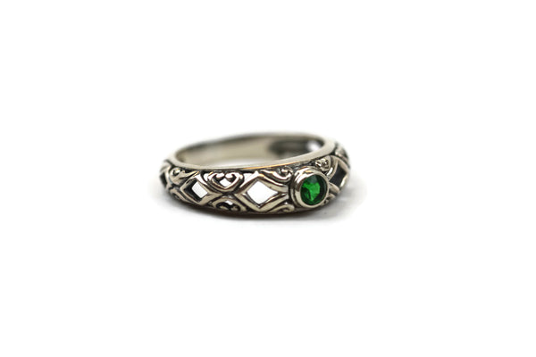 Handmade Sterling Silver Faceted Green Cubic Zirconia CZ Ring