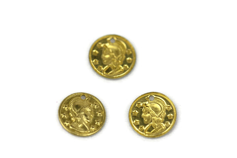 ALMA BEADS Gold Colored Coin Charms 16 mm 50 pcs (BRASS)