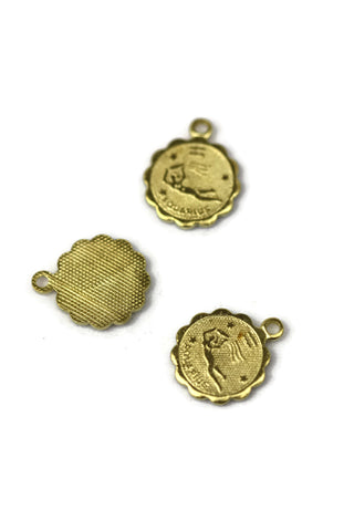ALMA BEADS Gold Colored Aquarius Charm 11.5 mm 10 pcs (BRASS)