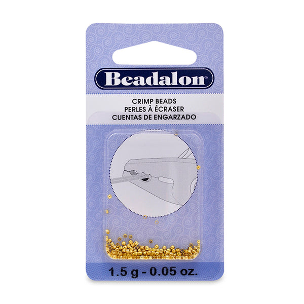 Crimp Beads, Size #0, 0.8 mm (.031 in) I.D., 1.3 mm (.051 in) O.D., Gold Color, 1.5 g (.05 oz), appx. 200 pc. Use Micro Crimper Tool with wire 0.25-0.33 mm (.010 -.013 in)