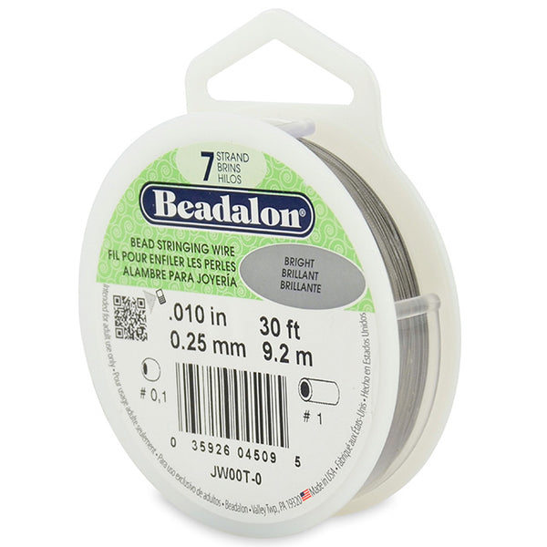 7 Strand Stainless Steel Bead Stringing Wire, .010 in (0.25 mm), Bright, 30 ft (9.2 m)