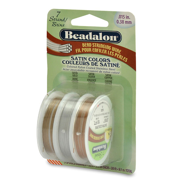 7 Strand Bead Stringing Wire, 3-Pack, .015 in (0.38 mm), Satin Silver, Satin Gold, Satin Copper, 10 ft (3.1 m) ea