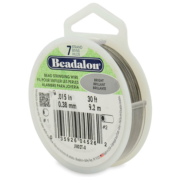 7 Strand Stainless Steel Bead Stringing Wire, .015 in (0.38 mm), Bright, 30 ft (9.2 m)