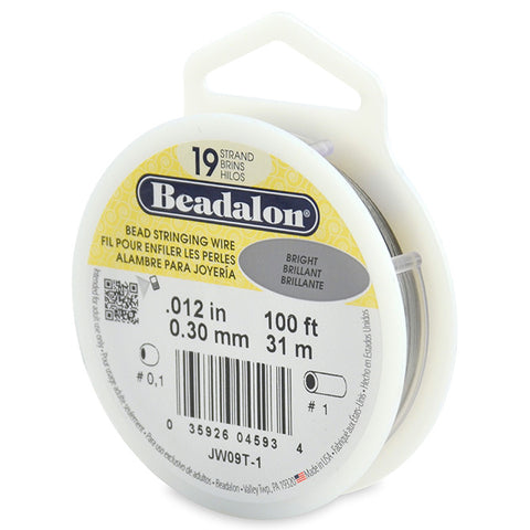 19 Strand Stainless Steel Bead Stringing Wire, .012 in (0.30 mm), Bright, 100 ft (31 m)