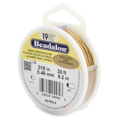 19 Strand Bead Stringing Wire, .018 in (0.46 mm), Gold Color, 30 ft (9.2 m)