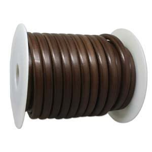 LEATHER 10X7MM DISTRESSD BROWN 10 METER SPOOL
