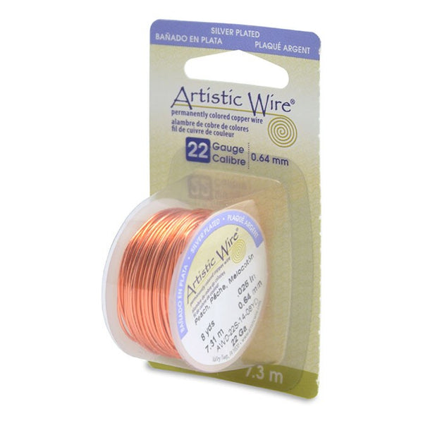 Artistic Wire, 18 Gauge (1.0 mm), Silver Plated, Peach, 4 yd (3.6 m)