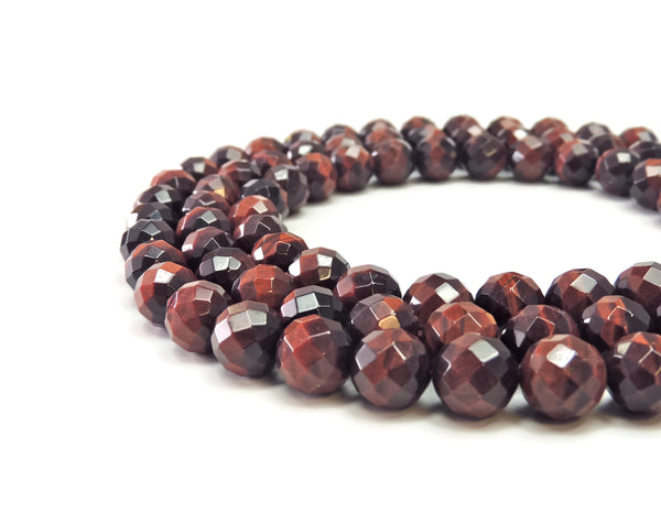 "Red Tigers Eye Faceted Gemstone Beads 12 mm 16"" strand"