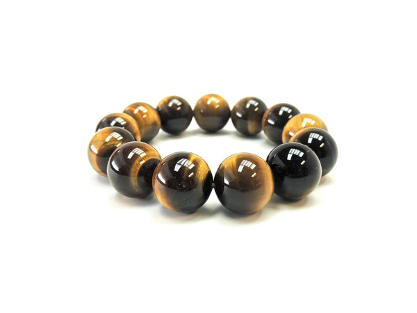 Tigers Eye Smooth Gemstone Beads 18 mm Bracelet Half Strand/Bracelet AA Grade