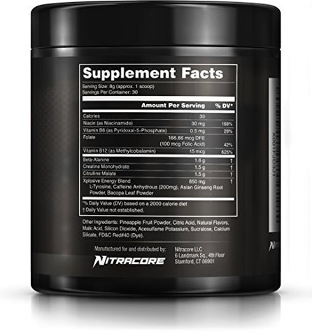 Nitracore XP Pre Workout Supplement-Strawberry Lime-8 4oz