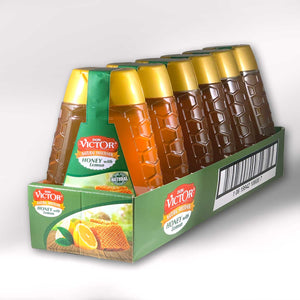Case of Don Victor lemon flavored honey, with 6 bottles of natural honey flavors.