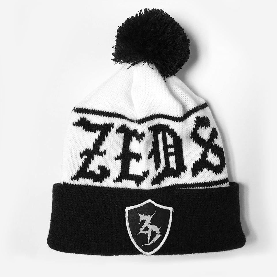 ZD - Crest - Custom Knit Pom Pom Hat - White