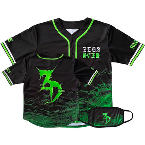 PRE ORDER - Zeds Dead - Slimed - Limited Edition Baseball Jersey + Face Mask Bundle