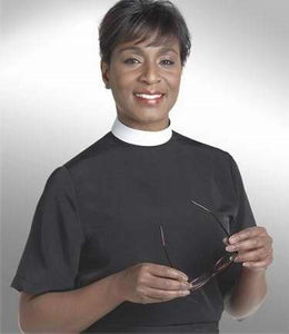 Clerical Shirt-Women-Short Sleeve Banded Collar-Size 16-Black