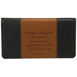 Checkbook Cover-Strong & Courageous-Brown/Tan