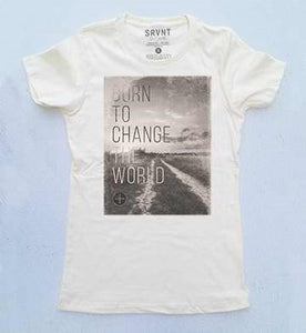 Tee Shirt-Born To Change The World Womens Boyfriend Tee- Small-Ivory W/Brown/Grey