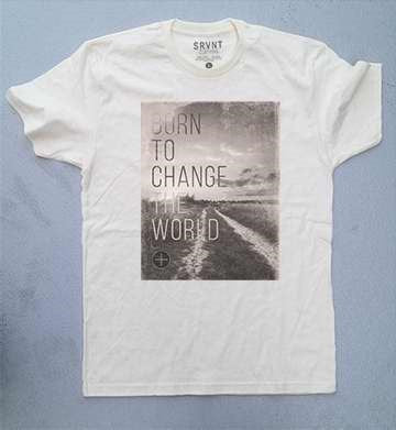 Tee Shirt-Born To Change The World Mens Premium Fitted Tee-Large-Natural W/Brown/Grey