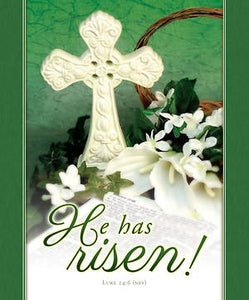 Bulletin-He Has Risen! (Luke 24:6) (Easter)-Legal Size (Pack Of 100)