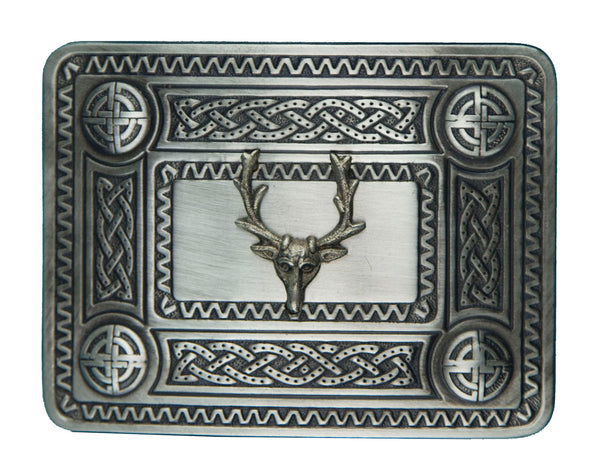 Celtic Dress & Stag Mount Belt Buckle