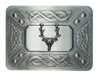 Celtic Link & Stag Mount Belt Buckle