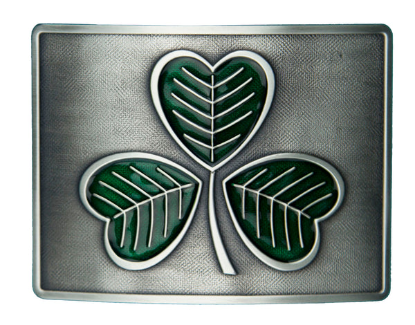 Shamrock Enamel Belt Buckle