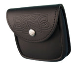 Black Leather Standard Embossed Utility Pouch