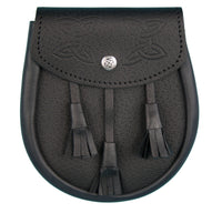 Black Leather Sporran - Semi Dress, Celtic Embossed