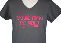 """Fortune Favors the Kilted"" MK Ladies Promo V-neck T-shirt"
