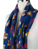 Ladies Scottie Dog Scarf (Navy)