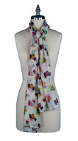 Ladies Scottie Dog Scarf (White)
