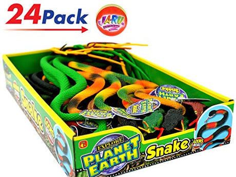 Snakes Assorted and Realistic Looking & Bouncy Ball Bundle (Display with 24)